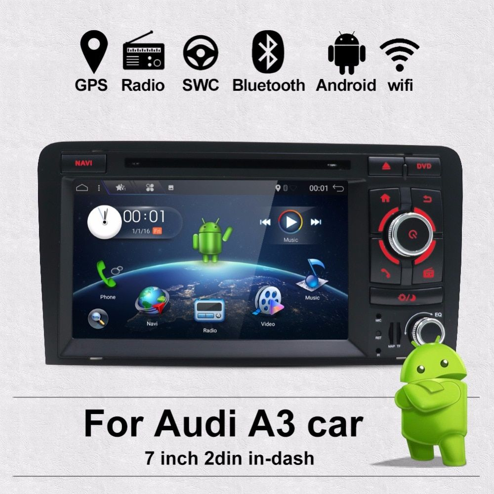 Bosion 7 zoll HD 2 Din Android 7.1 Quad Core Auto Radio Stereo DVD Player Multimedia Navigation GPS Für Audi A3 8 P 2003-2011