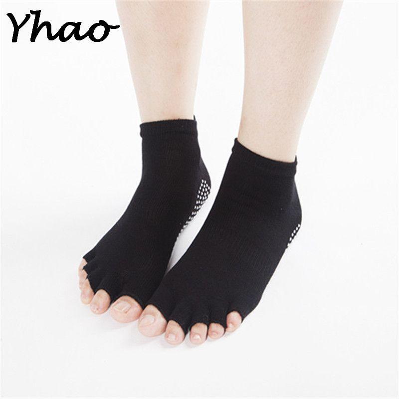 Для женщин и мужчин хорошее сцепление Спорт против скольжения Пилатес Сокс yhao не бренд Йога открытым носком Носки для девочек балерина Стил...