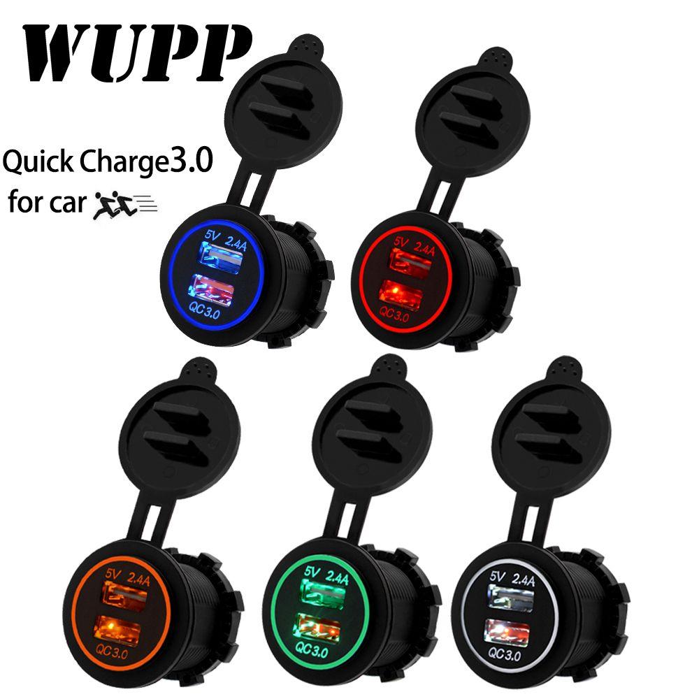 WUPP QC 3.0 prise de courant voiture chargeur rapide double USB véhicule DC12V-24V étanche 5 V/3.4A 2 port de charge pour iPhone Android