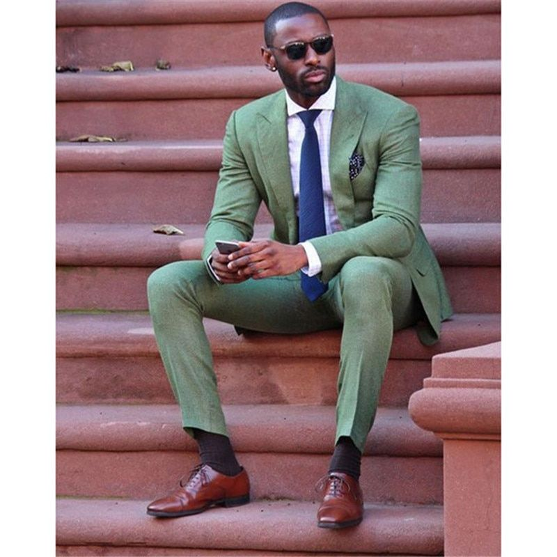 2018 Fashion slim fit new Army Green linen Men Suit wedding Party Prom smoking Tuxedo Mens Casual Work Wear Suits (Jacket+Pants)