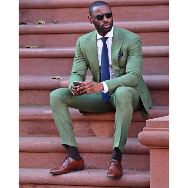 2018 Fashion slim fit new Army <font><b>Green</b></font> linen Men Suit wedding Party Prom smoking Tuxedo Mens Casual Work Wear Suits (Jacket+Pants)