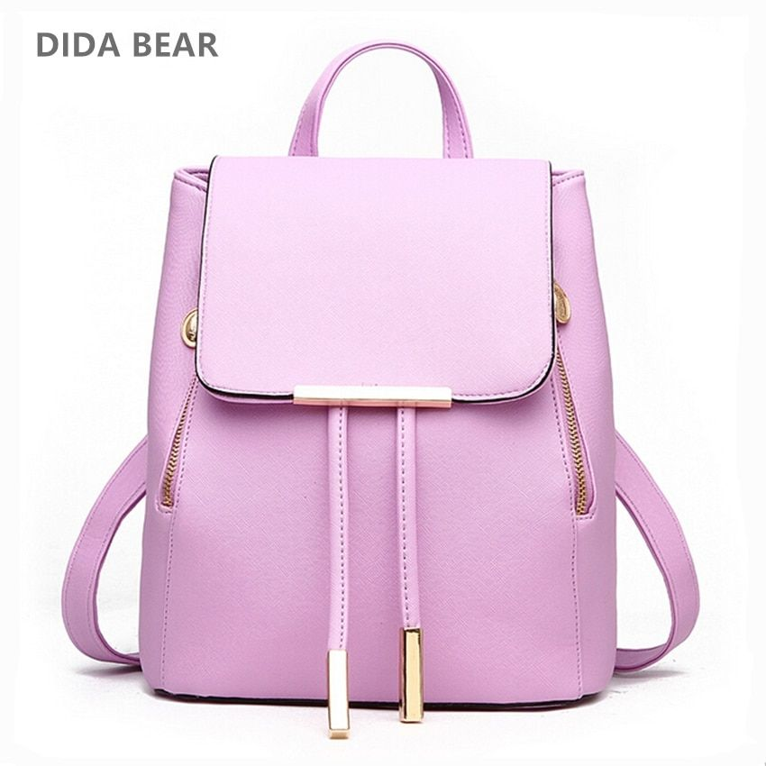 DIDA BEAR Women Backpack High Quality PU Leather Mochila Escolar <font><b>School</b></font> Bags For Teenagers Girls Leisure Backpacks Candy Color