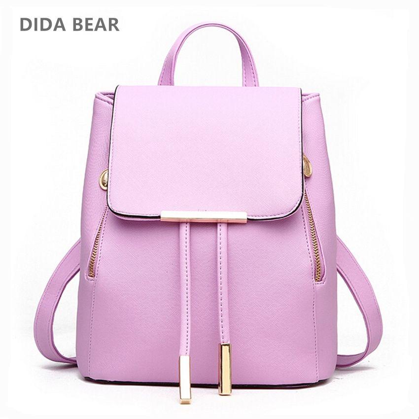 DIDA BEAR femmes sac à dos de haute qualité en cuir PU Mochila Escolar sacs d'école pour adolescents filles loisirs sacs à dos couleur bonbon