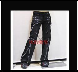Gothic Tanduk Celana Pria Celana Panjang Tide Punk Tidak Mainstream Kasual Keling Lubang Gas Penyanyi Panggung Kostum Pakaian 2019