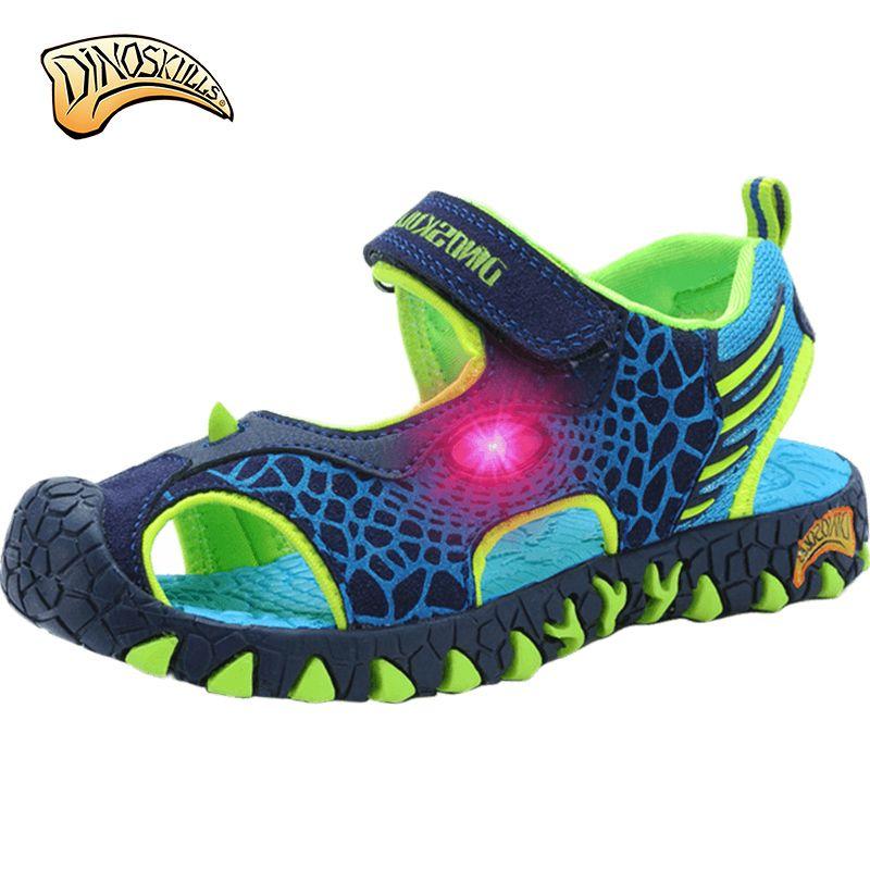 Fashion Cartoon Luminous Sneakers For Boys Children Glowing Sandals Beach Shoes Kids Led Sandals Sneakers 3D Dinosaur Sandals