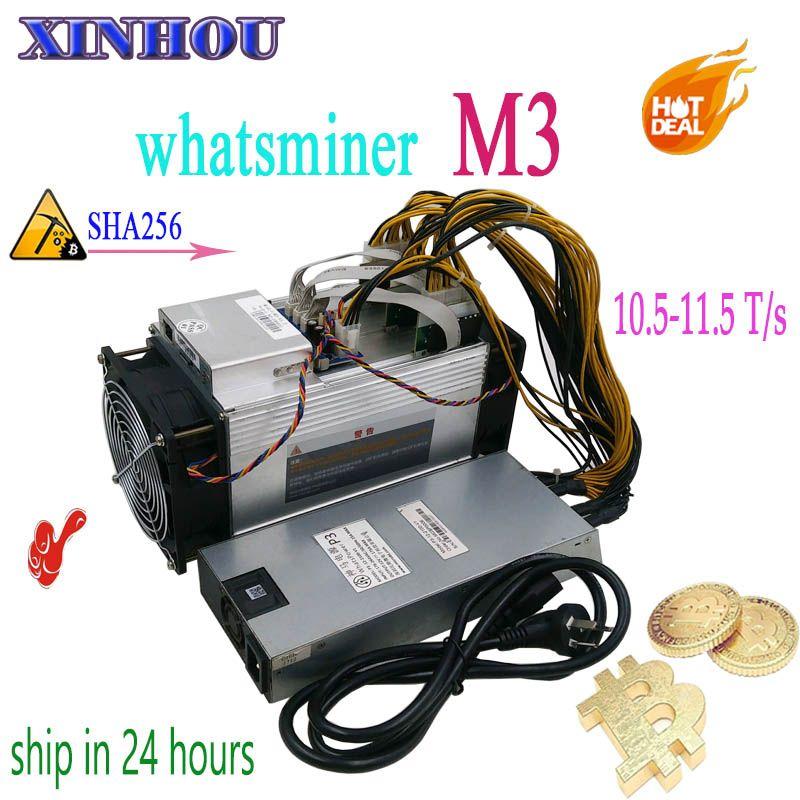 Verwendet BTC BCH miner WhatsMiner M3 10,5 T-11,5 T mit NETZTEIL Asic Bitcoin Miner Besser Als M3x M10 antminer S9 S11 T15 S15 Z11 B7 T3