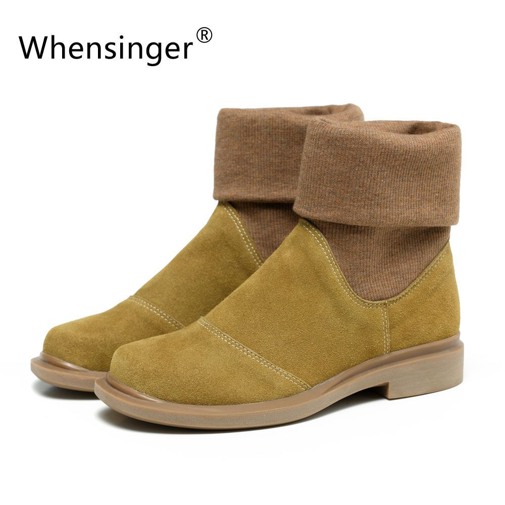 Whensinger - 2018 New Autumn Winter Shoes Women Boots Genuine Leather Slip On Round Toe 2 Colors 601