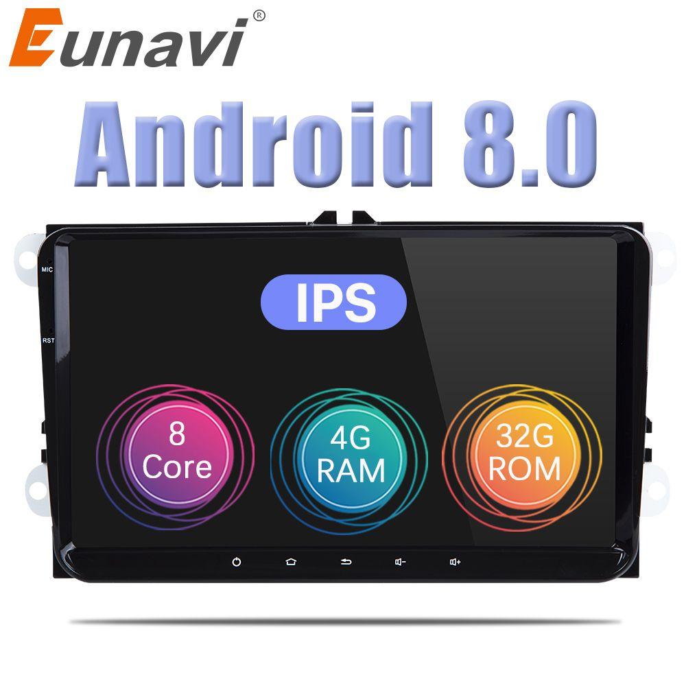 Eunavi 2 Din 9 ''Android 8.0 Octa core auto radio stereo GPS für VW Polo Jetta Tiguan passat b6 cc fabia spiegel link bluetooth