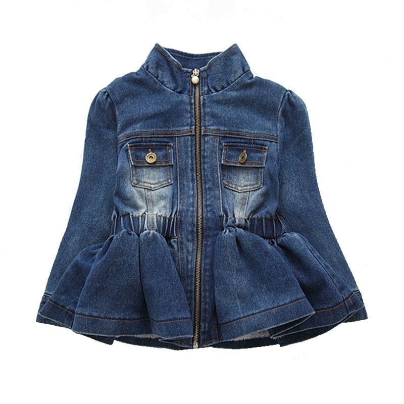 2016 Spring Autumn Baby Girls Kids Lace Cowboy Jacket Denim Top Button Jean Jackets Coats Costume Long Sleeve Jackets Outfits