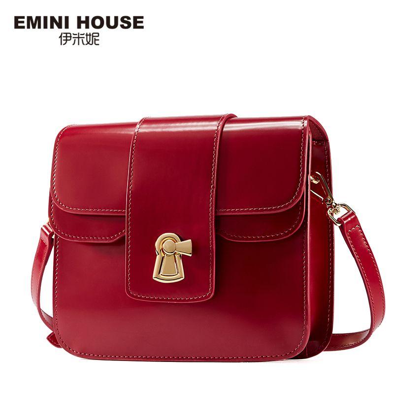 EMINI HOUSE Genuine Leather Flap Bag Women Messenger Bags Designer Handbags High Quality Shoulder Bag Crossbody Bags for Women