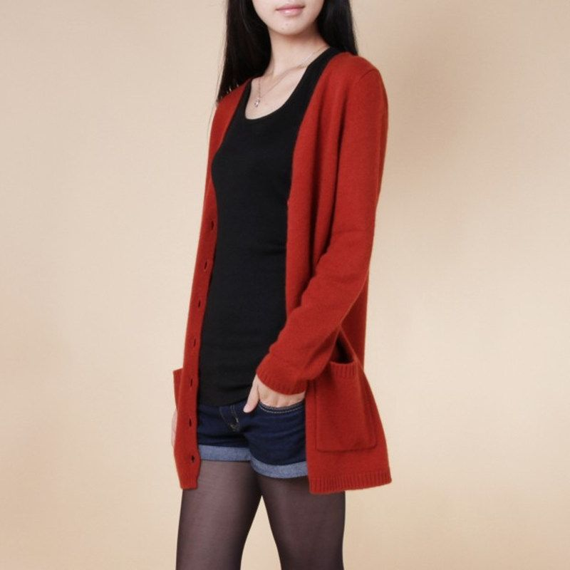 2018 new cardigan women <font><b>spring</b></font> autumn long cardigan lady cashmere material loose sweater for female outerwear coat with pockets