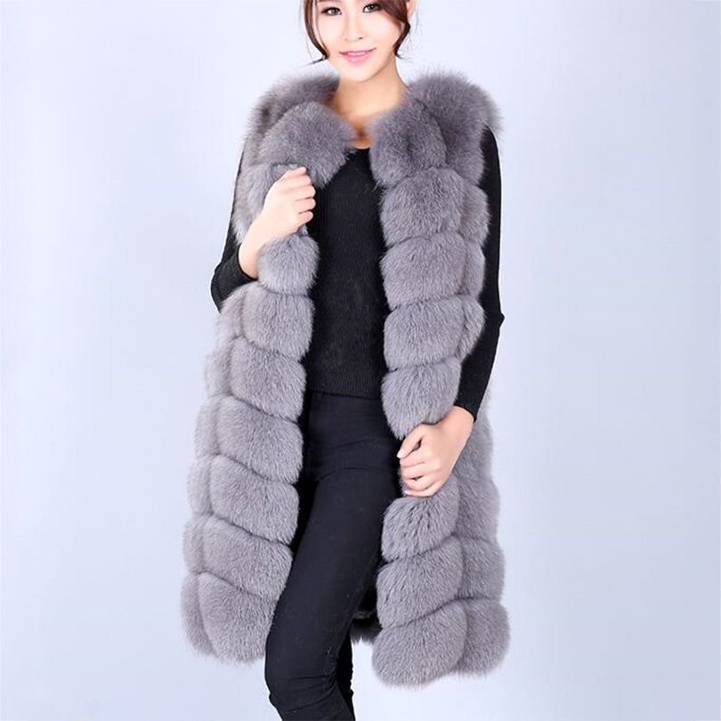 high quality real fox fur vest long design women's slim outerwear coats genuine leather square top rated fur waistcoat cloth