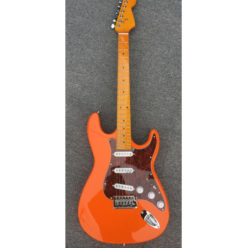 Custom shop,High quality ST electric guitar,Maple fretboard,Orange red body,3*standard single coils pickups,Real picture!