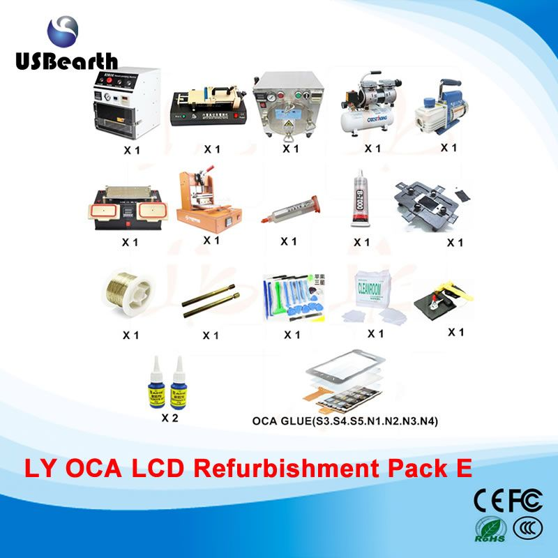 SAMSUNG repair OCA Laminator and Bubble Remover Machine+LCD Separator+Glue Remover+OCA Film Laminator+vacuum pump