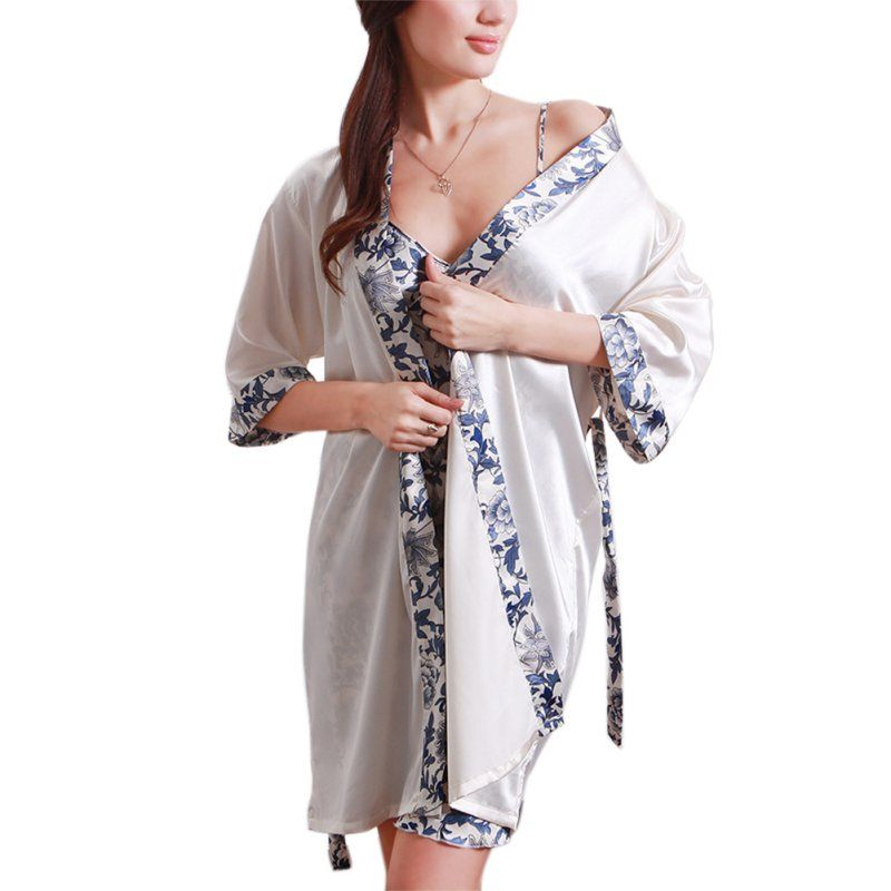 Spring Auntum Women's Sleepwear Robe Creative Dress Porcelains Ropa Dormir Silk-like Pajamas Robe Set Hot Selling