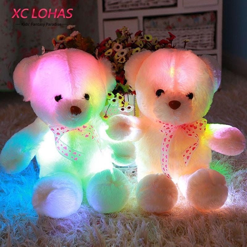 45 cm Coloré Glowing Soft Peluche Peluche Ours Oreiller Clignotant LED Lumière Lumineux Ours Poupée Jouets Bébé Cadeau D'anniversaire pour enfants