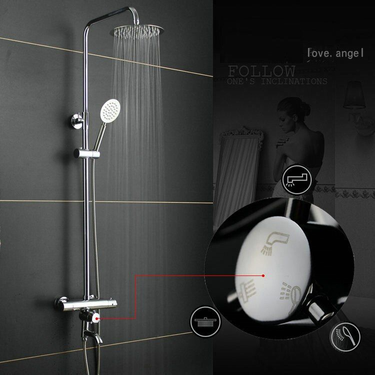 Dofaso all cooper 20cm square rain shower Thermostatic Shower Mixer Set Rainfall Bath Tap thermostatic shower faucet