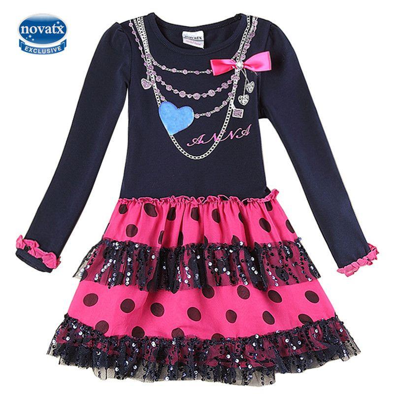 NOVATX Fille robe Automne casual floral enfants robes pour bébé filles vêtements princesse denim robes robe de noël robes H5868