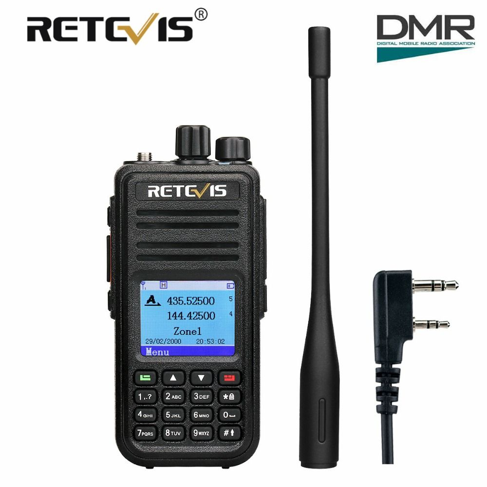 Retevis RT3S Dual Band DMR Digital Walkie Talkie Ham Radio Amador Hf Transceiver VHF UHF (GPS) Retevis DMR Radio+Program Cable