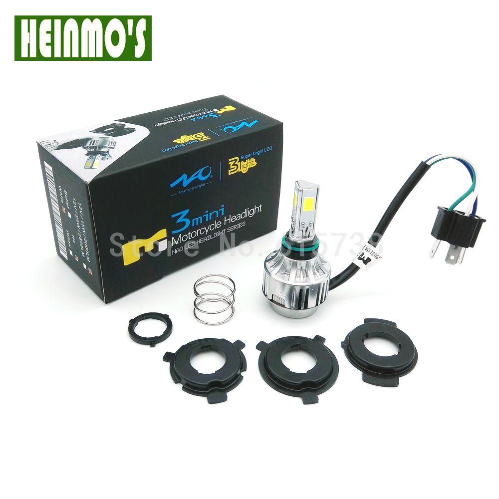 18 W + 12 W BLANC (ambre) COB Moto LED Phare Moto phare LED Salut Faible faisceau moteur Kit de Conversion H6 H4 BA20D kit led