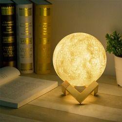 3D impresión lámpara Luna luz USB LED recargable novedad Sensor táctil lámpara de escritorio luz de la noche creativa decoración cumpleaños regalo