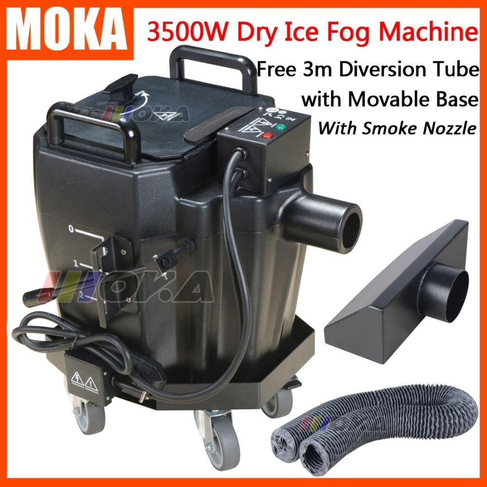 3500 watt Trockenen Eis Nebel Maschine bühne effekte Trockenen Eis Niedrigen Boden Rauch Maschine Beweglichen Basis Mit Rauch Düse und diversion Rohr