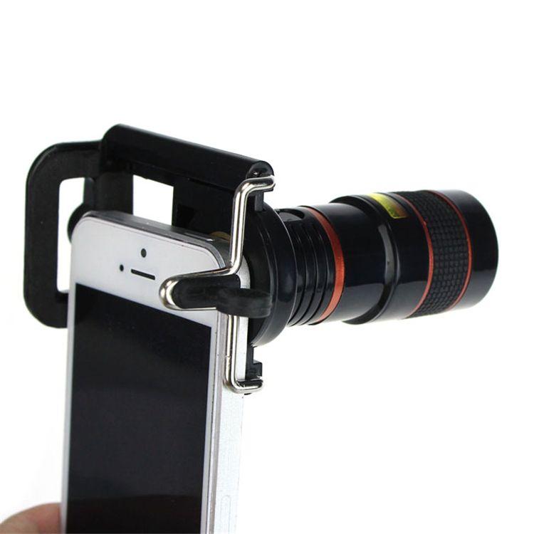 Freies verschiffen Neueste 8X Summen-optisches Teleskop Kamera Weitwinkel Objektiv + Telefon halter Für iPhone 4 S 5 5 S 6 6 S Samsung Galaxy S HTC