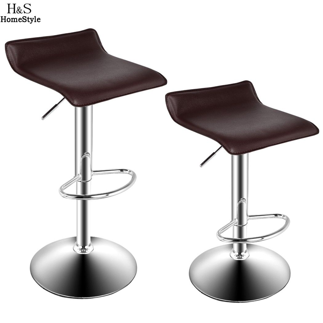 2 PCS High Quality Chrome Modern Lifting Bar Chairs Cashier Chairs natural flowing lines Adjustable Salon Stool Multi color N20*