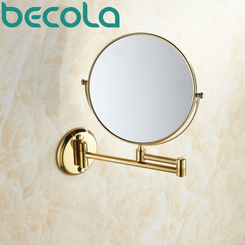 BECOLA Double face salle de bain pliant en laiton rasage maquillage miroir plaqué or mural Double bras prolonger bain miroir BR-6738