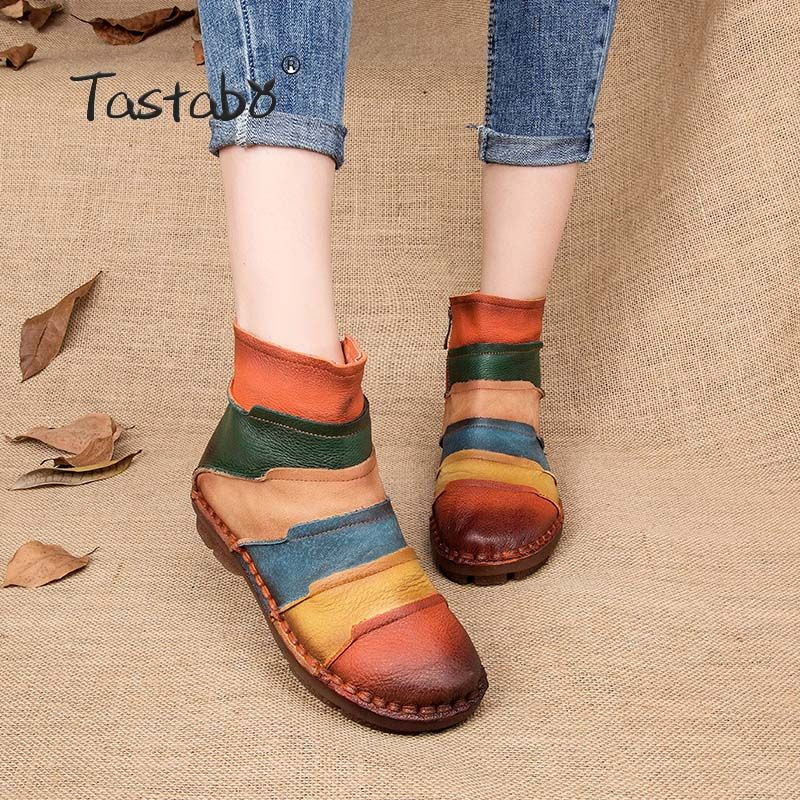 Tastabo Hot Sale Shoe Martin Boots Genuine Leather Ankle Shoes <font><b>Vintage</b></font> Casual Shoes Brand Design Retro Handmade Women Boots Lady