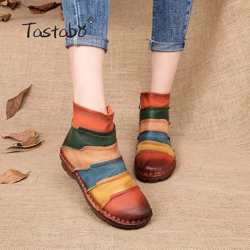 Tastabo Hot Sale <font><b>Shoe</b></font> Martin Boots Genuine Leather Ankle <font><b>Shoes</b></font> Vintage Casual <font><b>Shoes</b></font> Brand Design Retro Handmade Women Boots Lady