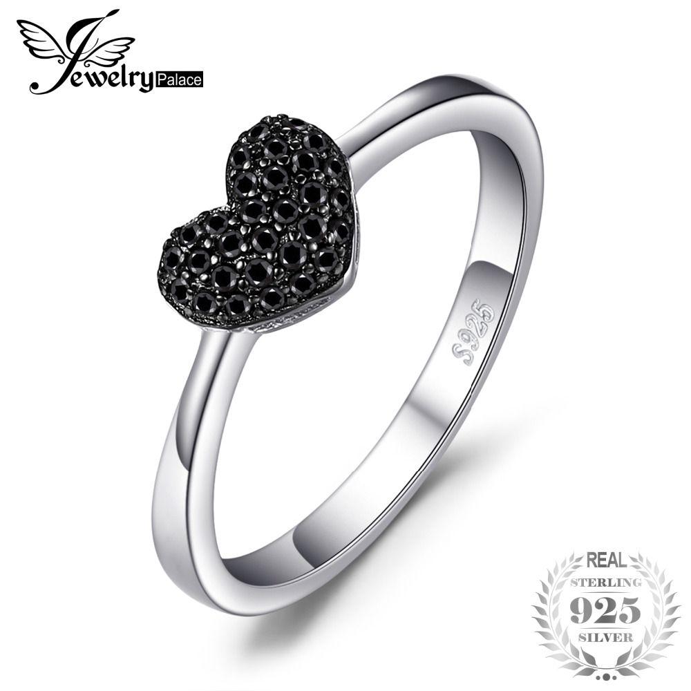 JewelryPalace Mode Naturel Noir Spinelle Coeur D'amour bagues pour femmes 100% 925 Sterling Argent cadeaux de mariage bijoux fins