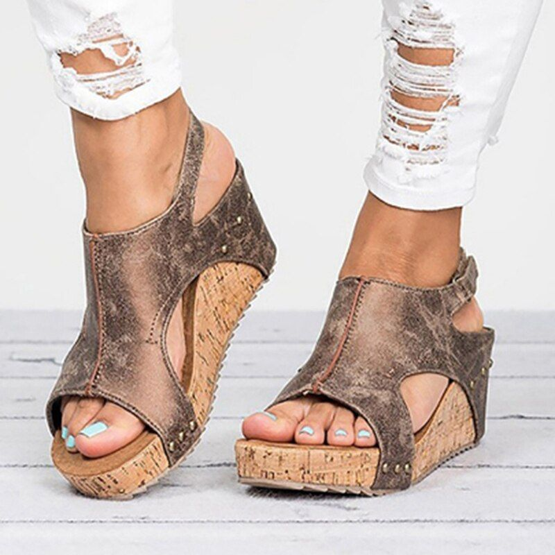 Sandales femmes 2019 plate-forme sandales chaussures à semelles compensées pour femmes talons Sandalias Mujer chaussures d'été en cuir talons compensés sandales 43