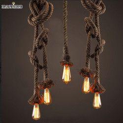 Retro Vintage cuerda colgante luz lámpara loft Creative personalidad industrial lámpara de estilo americano para Ding Sala restaurante