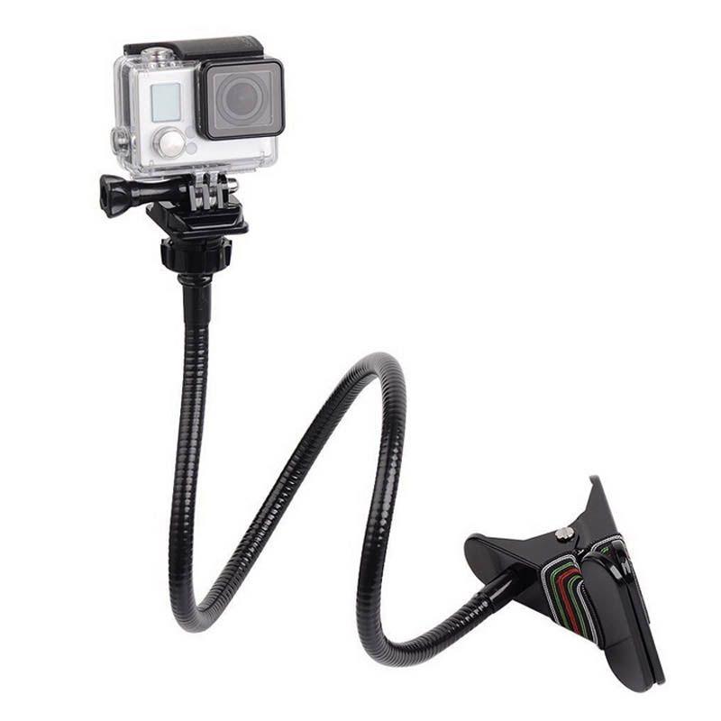 Горячая регулируемый 360 градусов вращающийся зажим с 70 см Гусенек расширение челюсти клип кронштейн для GoPro Hero 4 3 + 3 2 SJCAM