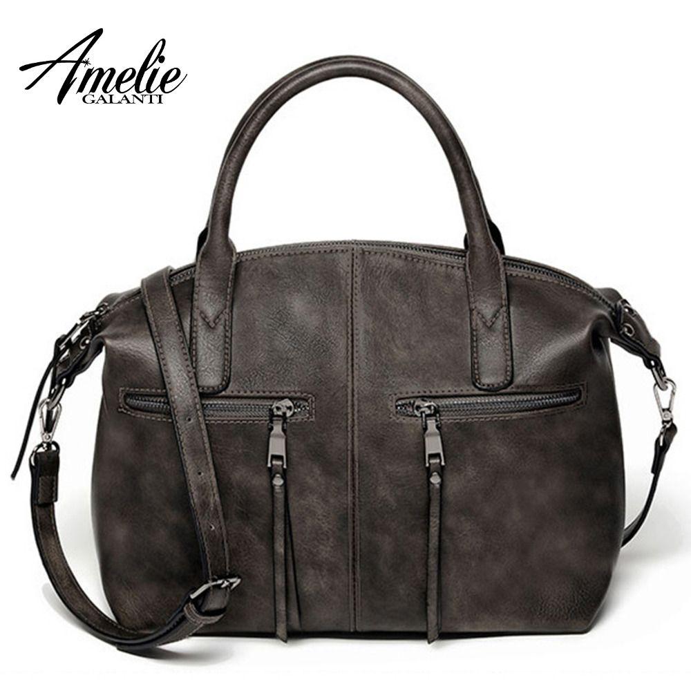 AMELIE GALANTI Stilvolle Kissen Tasche von Künstliche Leder Schulter Taschen Mode Feste Beiläufige Totes mit Zipper Frauen Handtaschen