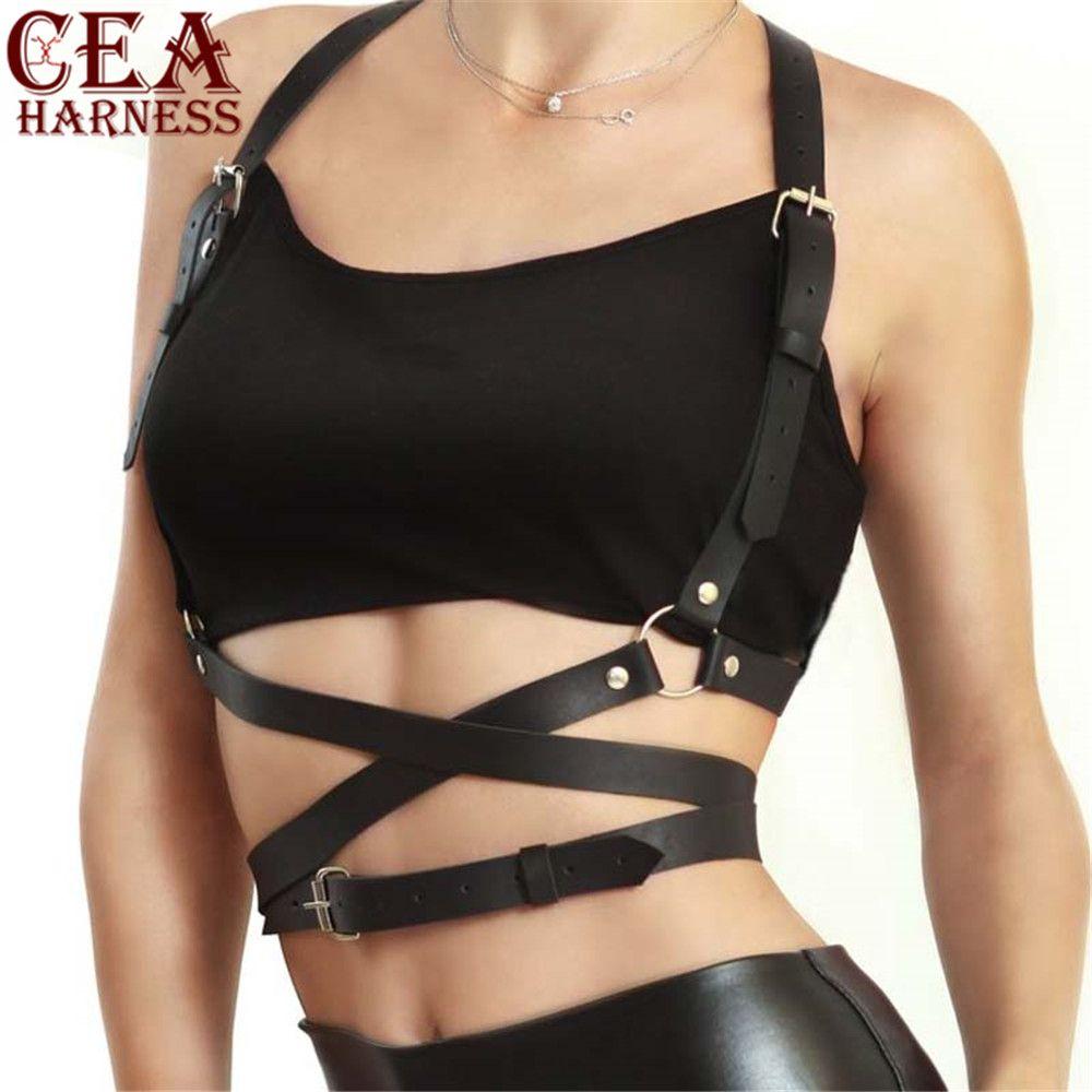 CEA. Harnais populaire goujon Punk Goth cuir harnais corps Bondage ceinture Cage sculptant cuir ceinture ceinture poitrine ceintures corps mince