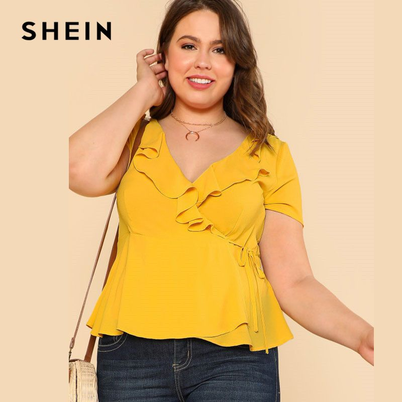 SHEIN Yellow Plus Size Ruffle V Neck Wrap Top Blouse Women Clothings Summer Top Large Size Elegant Slim Solid Plain Blouse