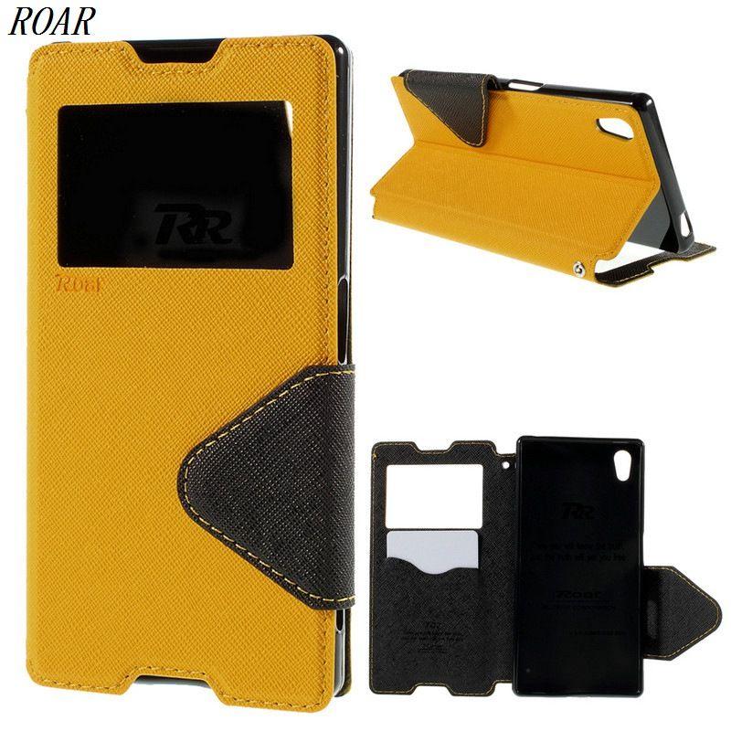 For Sony Z5 Case Original ROAR KOREA Diary View Card Holder Leather Flip Phone Cover Case for Sony Xperia Z5 / Z5 Dual E6603