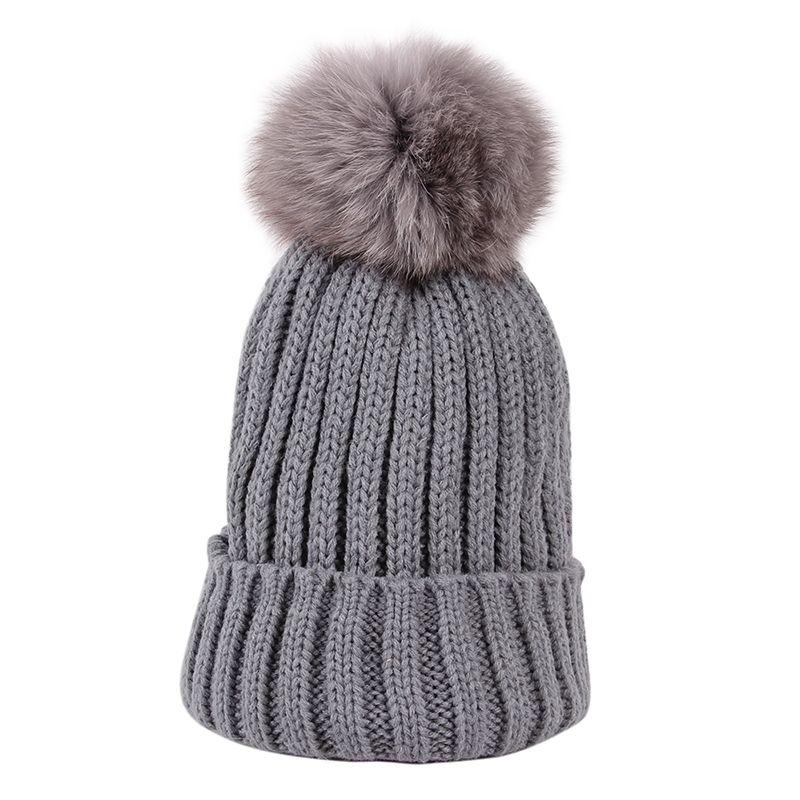 100% Fox Or Mink Fur Pompom Woman Hat Muts Winter Caps For Women Knitted Skullies Beanies Cappeli Da Donna cc Beanie