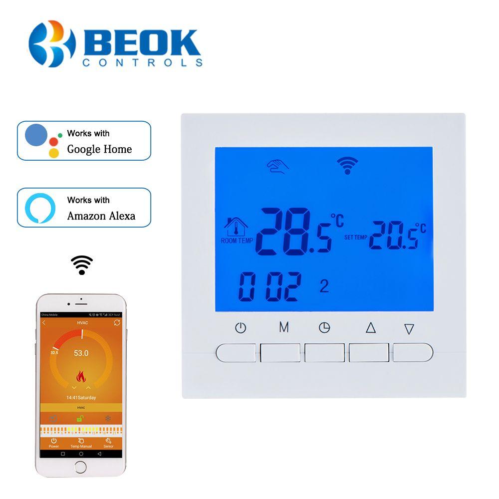 BEOK BOT-313WIFI Thermostat de chauffage de chaudière à gaz bleu et blanc AC220V Wifi régulateur de température pour chaudières hebdomadaires programmables