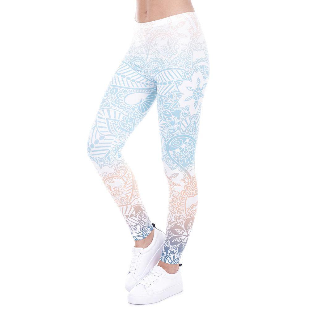 Brand Hot Sales Leggings Mandala Mint Print Fitness legging High Elasticity Leggins Legins Trouser Pants for women