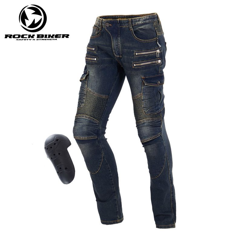 Windproof Harley Motorcycle Jeans Casual Pants Wearable Men's Motorbike Motocross Off-Road Knee Protective Moto Jeans Trousers