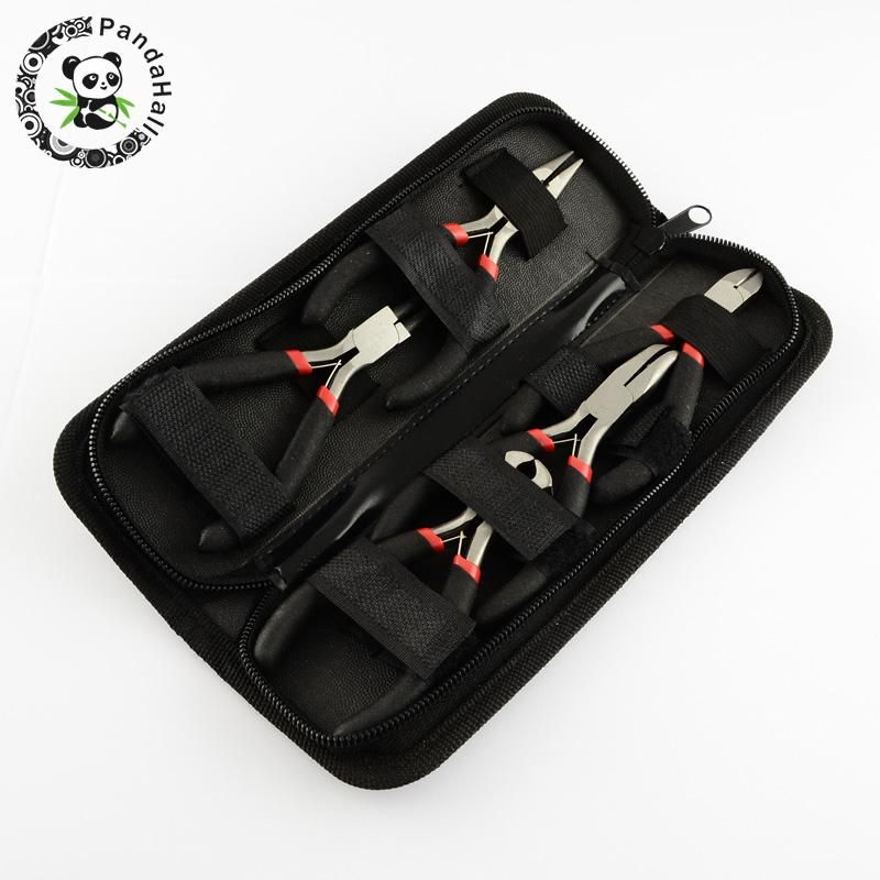 5pcs Steel Pliers Sets DIY Jewelry Tool Kit with 1 Round Nose 1 Wire-Cutter 1 End Cutting 1 Side Cutting and 1 Bent Nose Plier