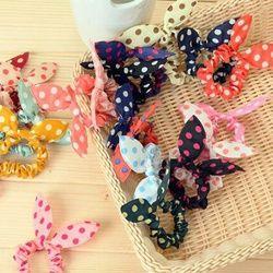 10 Pcs/lot Mignon Lapin Fleur Bandeaux Oreilles De Lapin Dot Chapeaux Élastique Cheveux Corde