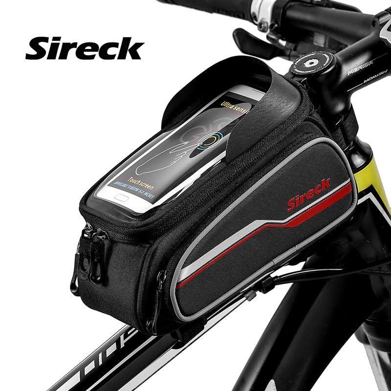 Sireck Bike Bag Front <font><b>Tube</b></font> Bicycle Bag 5.8 Phone Touchscreen MTB Road Cycling Phone Bag Frame Saddle Package Bike Accessories
