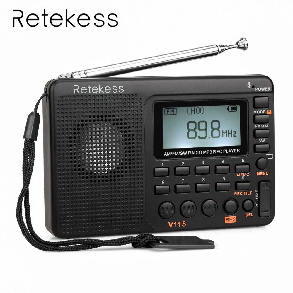 Retekess V115 Portable <font><b>Radio</b></font> FM/AM/SW World Band Receiver MP3 Player REC Recorder With Sleep Timer Black FM <font><b>Radio</b></font> Recorder
