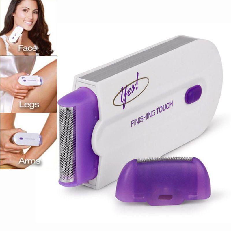 2 en 1 Depiladoras toque final del removedor del pelo depilación instantánea y dolor sensor láser Luz segura afeitadora USB recargable
