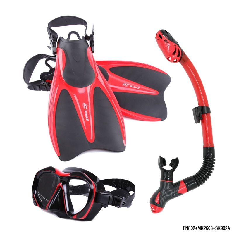 Brand Swimming Fins for Adults Adjustable Profession Diving shoes Open heel Diving Fins Flippers Breathing Tube Diving Mask Sets