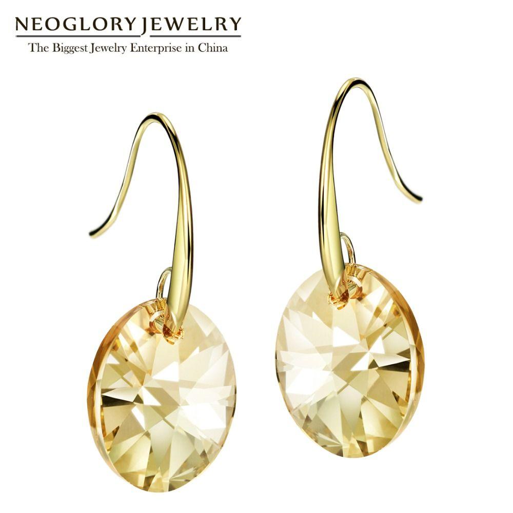 Neoglory cristal autrichien couleur or jaune clair bohème balancent boucles d'oreilles pour les femmes bijoux de mode indien 2018 amour JS9